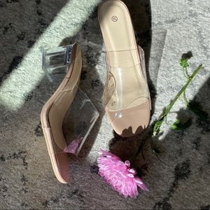Shoes - Clear Lucite Slip On Stacked Heel Mule
